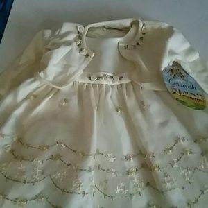 Cinderella Designer Cream Embroidered Dress 18mth